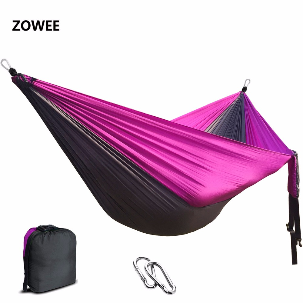 Double Hammock Large Size Hammocks For 2 Person Sleeping Bed Outdoor Camping Swing Portable Ultralight Design 260*140 CM portable parachute double hammock garden outdoor camping travel furniture survival hammocks swing sleeping bed for 2 person