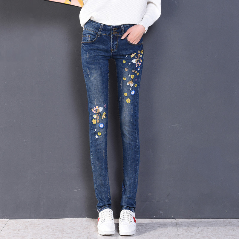Jeans women s skinny jeans 2017 spring new high waist thin embroidery pencil denim pants stretch