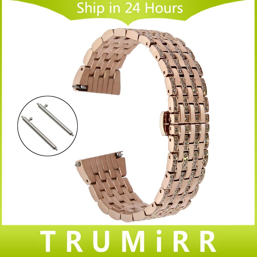 С кристалалми и стразами ремешок для часов 18 мм 20 мм 22 мм для seiko Citizen Casio Quick Release Нержавеющаясталь часы наручные ремешок браслет