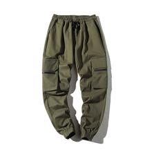 Kwietnia MOMO męskie spodnie Harem 2019 nowy Hip Hop na co dzień mężczyzna taktyczna biegaczy spodnie moda Streetwear boczne kieszenie Cargo spodnie tanie tanio Mężczyźni Pełnej długości April MOMO Cargo pants High Street REGULAR COTTON Midweight Plisowana Suknem Sznurek AP562