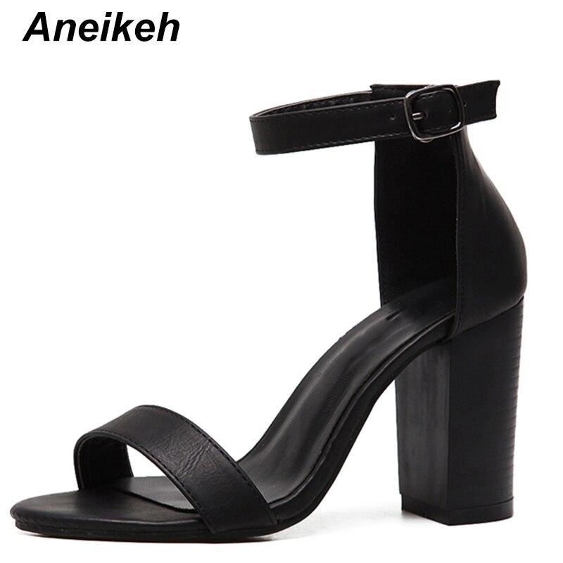 Aneikeh 2019 Summer Women Sandals Plus Size 35-42 Ankle Strap Shoes Sandals Thick High Heels Gladiator Sandals Women Pumps Black