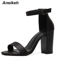 Aneikeh 2019 Summer Women Sandals Plus Size 35-42 Ankle Stra