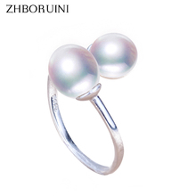 ZHBORUINI Fine Jewelry Pearl Ring Jewelry Double Faced Rings Natural Freshwater Pearl 925 Sterling Silver Jewelry For Women Gift zhboruini fashion pearl jewelry set natural freshwater pearl flower necklace earrings ring 925 sterling silver jewelry for women