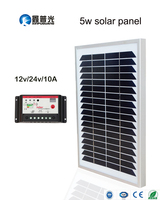Xinpuguang 5W 18V solar panel mono silicon cell 12v 24v 10A controller for 12V battery LED Lawn light pilot lamp garden charge
