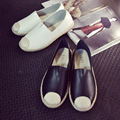 Fashion Blogger Recommend Handmade Sewing Black White Solid Plain Pattern Jute Wrap Canvas Espadrilles Slipony Women Flats Shoes