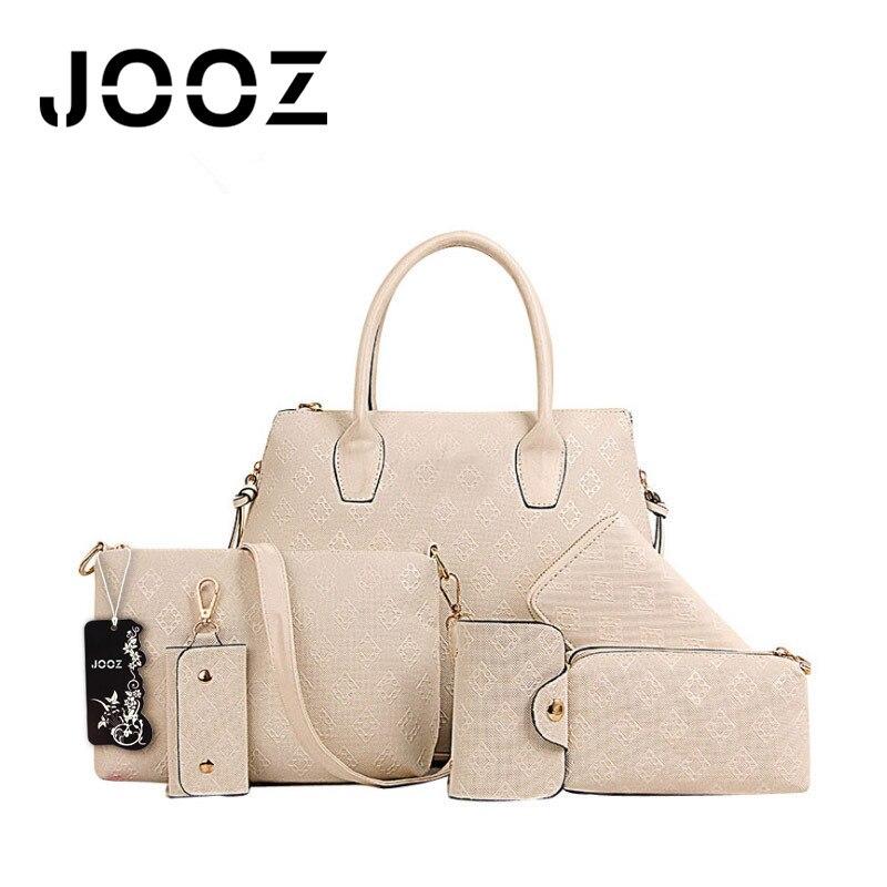 ФОТО Jooz Brand Luxury Diamond Lattice bag Lady Leather 6Pcs bags Set Women Shoulder Crossbody Bags Handbag Purse Clutch