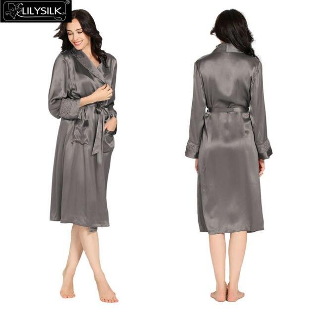 Lilysilk Robe Female Silk Long Women Lace Wedding Gowns Bridesmaid 22 MM Long Sleeve Waistband Kimono Home Femme Sexy Sleepwear