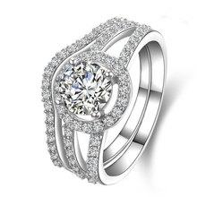 Твердые 585 Белое Золото Свадебный набор 1Ct Синтетический Алмаз Кольцо Из Белого Золота Ювелирные Изделия для Новобрачных Свадьба Валентина Подарок На День Рождения(China (Mainland))