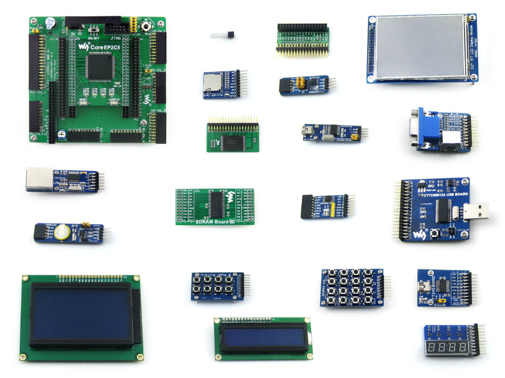 Modules Altera Cyclone Board EP2C5 EP2C5T144C8N ALTERA Cyclone II FPGA Development Board + 19 Accessory Kits = OpenEP2C5-C Packa module xilinx xc3s500e spartan 3e fpga development evaluation board lcd1602 lcd12864 12 module open3s500e package b