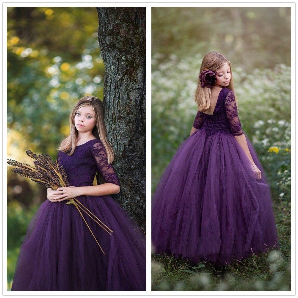 Rêve chic élégant dentelle pourpre enfants robe première Communion robe pour filles Primera Comunion Decoracion fleur robe de mariée