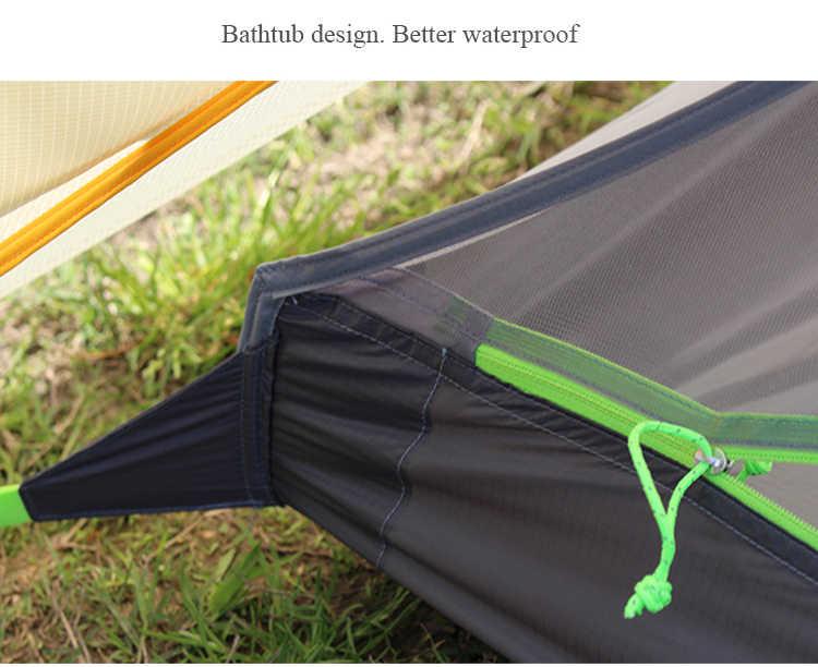 1-2 osoby 2 boczne silikonowe nylonowe piramidy fly outdoor lekki namiot kempingowy 265*170*135cm