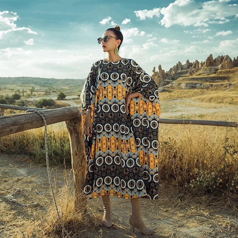 Géométrique Nouveau Longue Ethnique Automne Indie Femmes Lâche Motif Robe 2018 Verragee Mandala Folk Maxi Vintage QrdCthBxs