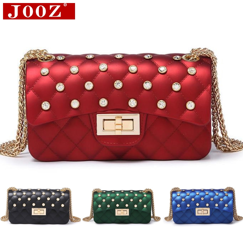 JOOZ 2018 New Fashion Women Shoulder Bag Chain Strap Flap Designer Handbags Clutch Bag Ladies Messenger Bags Diamond Jelly Bag
