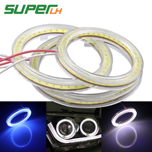 2pcs car daytime angel eyes cob led White Crystal blue fog light 60mm 70mm 80mm 90mm 100mm 110mm 120mm auto drl halo ring 12v