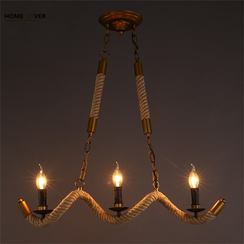 Vintage Pendant Lights Multiple Rod Wrought Iron Ceiling Lamp E14 Bulb Living Room luminaire for Home Lighting Fixtures fashion vintage metal rope chandelier ceiling lamp 6 candle lights lighting fixtures iron black rusty color for home lighting