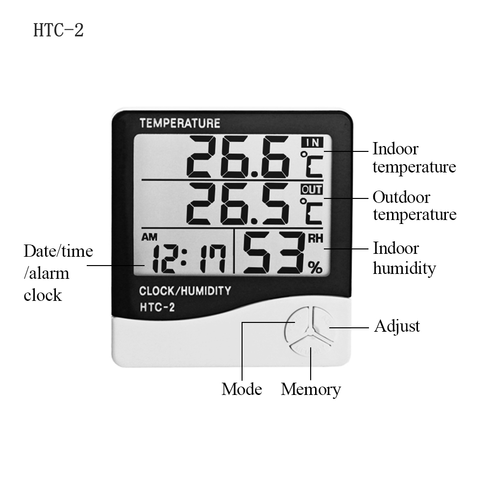 Indoor Outdoor LCD Electronic Temperature Humidity Meter Digital Thermometer Hygrometer Weather Station Alarm Clock HTC 1 HTC 2 in Temperature Instruments from Tools