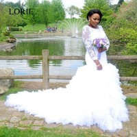 Bling Long Sleeve Winter Wedding Dresses Mermaid Ruffles Vintage Lace Bridal Dress 2017 Vestido De Novia