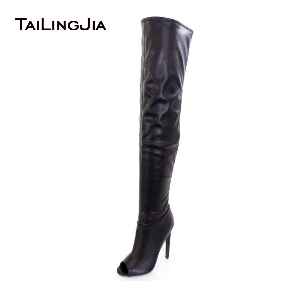 2017 Sexy Women Black Peep Toe Thigh Boots High Heel Over The Knee Boots Ladies Stilettos Long Boots Customized Free Shipping 2017 sexy leather boots lace thigh high boots hollow out cage sandal boots high heel over the knee boots free shipping