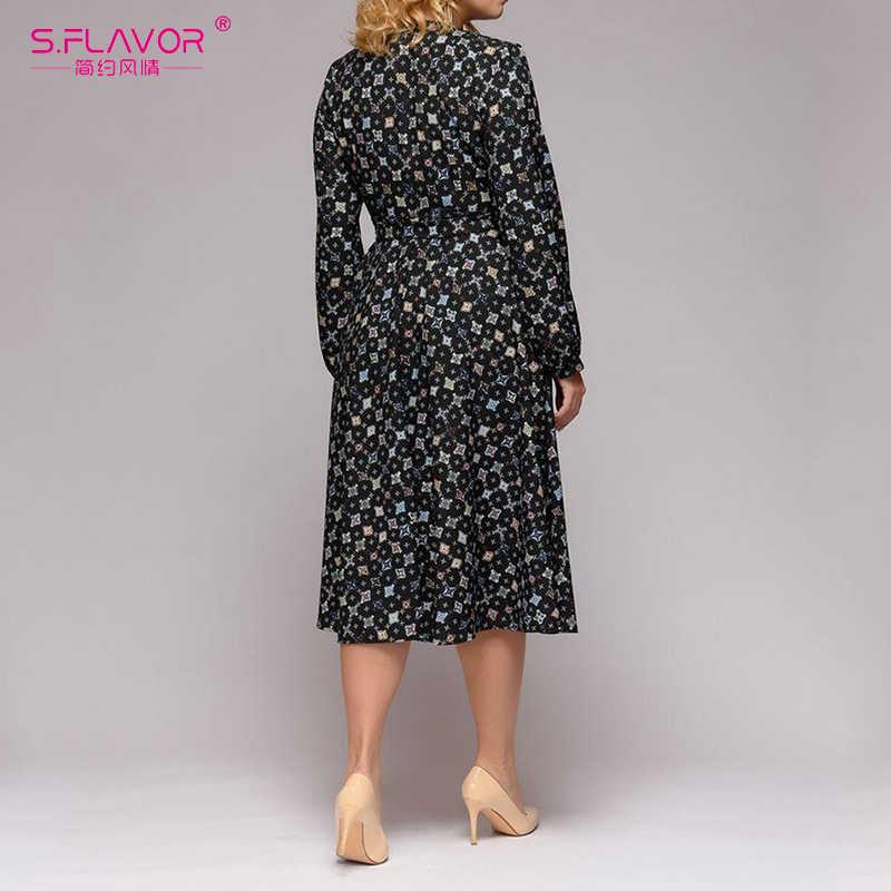 S. FLAVOR 2019 весеннее Новое винтажное платье с принтом ТРАПЕЦИЕВИДНОЕ Стильное женское платье с длинным рукавом и v-образным вырезом элегантные вечерние платья плюс размер сексуальное платье