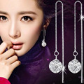 Vintage Shambhala Crystal Ball Ear Line Drop Earing Zirconia Earings Fashion Dangle Earring Wedding Earrings For Brides Jewelry