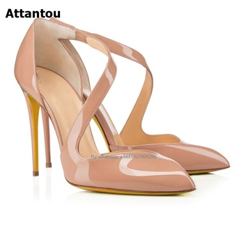 Women Fashion Pointed Toe Cross Straps Pumps Nude High Heels Stiletto Heel Dress Shoes Free Shipping