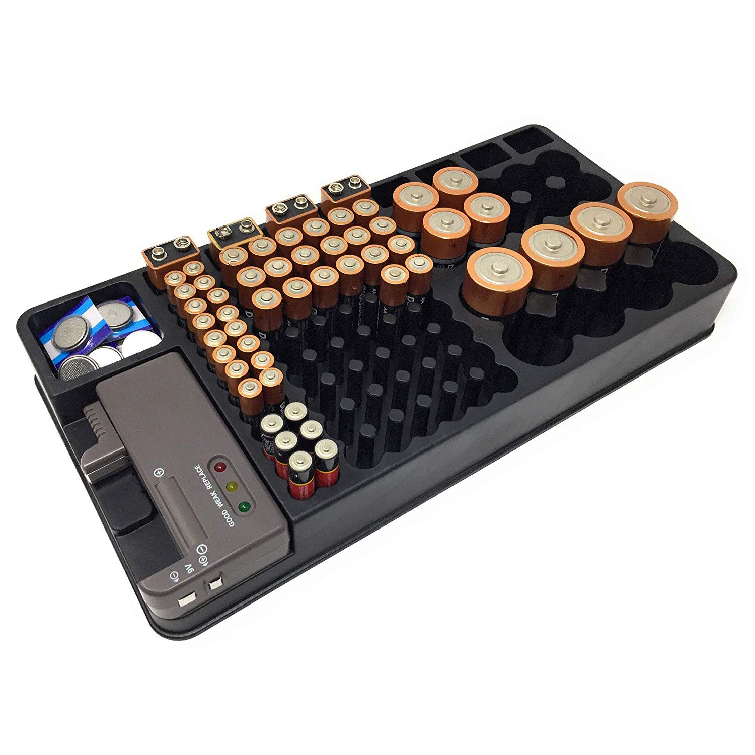 TOP Battery Storage Organizer Holder with Tester Battery Caddy Rack Case Box Holders Including Battery Checker