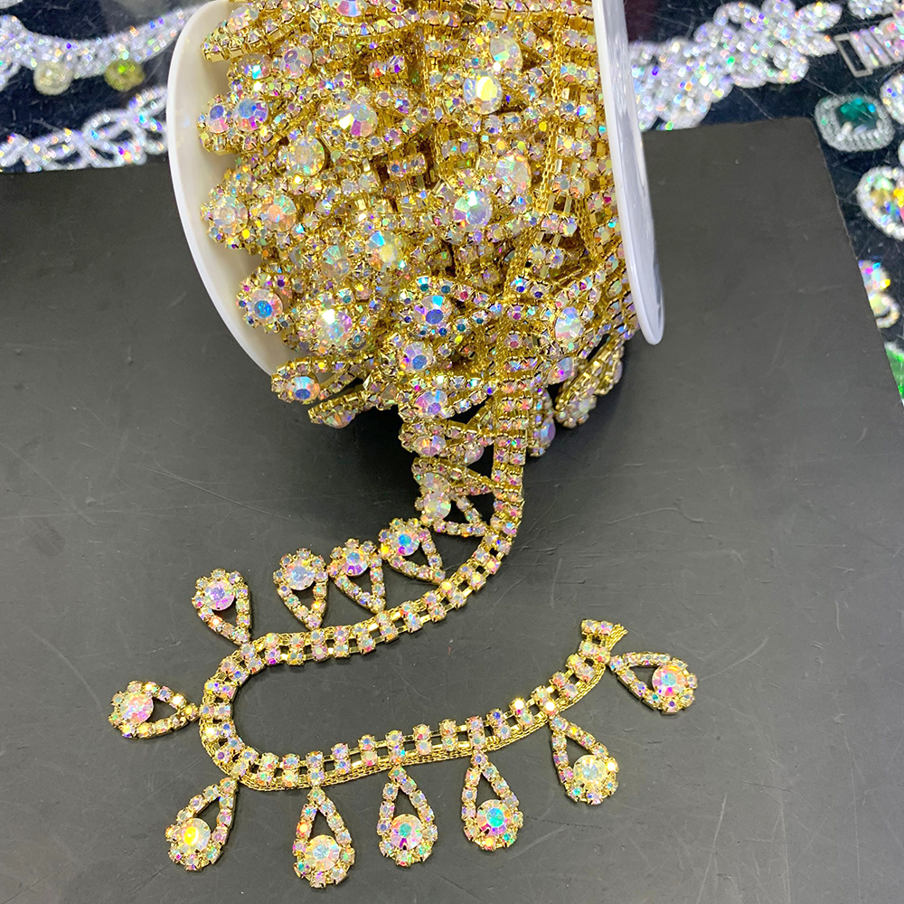 Good Quality Tassel Crystal AB Rhinestone Cup Chain Sew On Rhinestone Gold Base Trim For Wedding Dress Rhinestone Belt