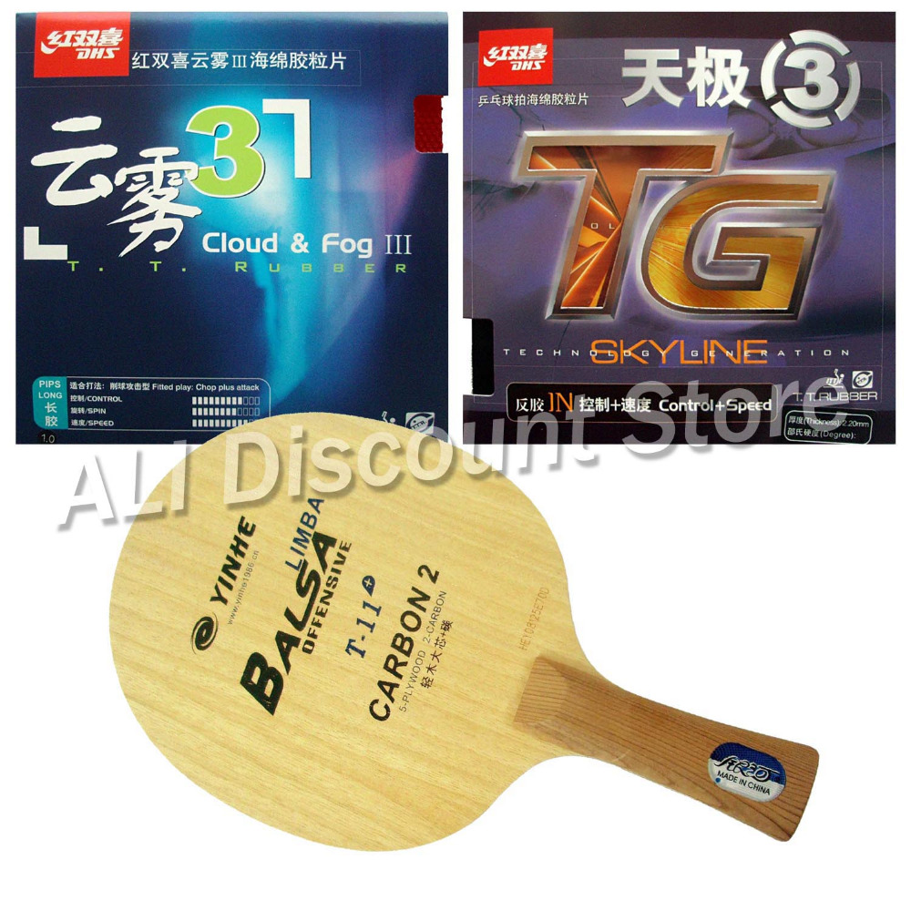 Galaxy Yinhe T-11+ Blade with DHS Skyline TG3 and Cloud & Fog III Rubbers for a Table Tennis Combo Racket FL galaxy yinhe emery paper racket ep 150 sandpaper table tennis paddle long shakehand st