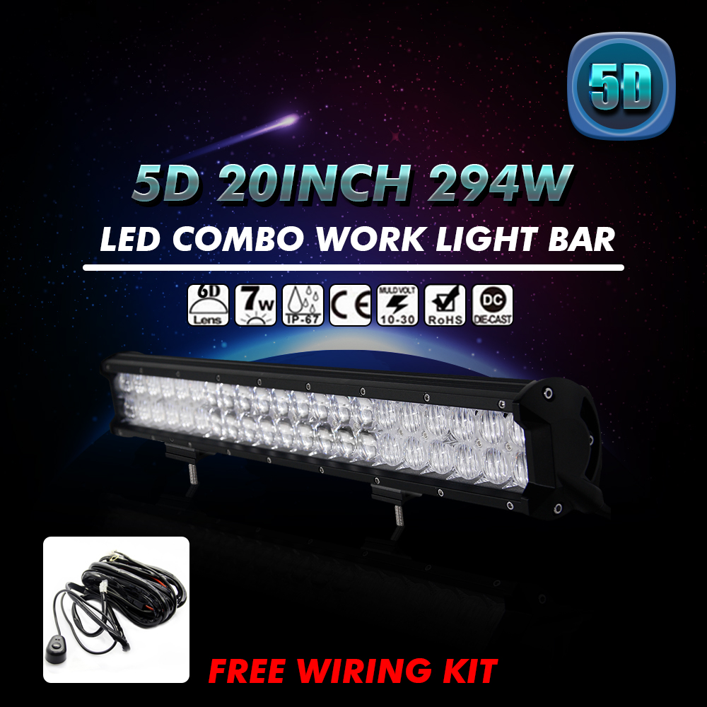 20Inch 294W Cree Chips 5D Straight Work Lights Off-road SUV ATV 4WD 4×4 LED Light Bar Truck Trailer Boat Driving Lamp For Ford