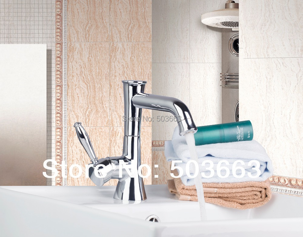 Newly Construction Real Estate Kitchen Chrome Basin Sink Single Handle Deck Mounted Vanity Vessel MF 1140
