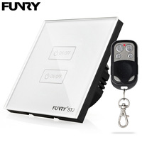 FUNRY ST2 EU Standard RF 433 Remote Control Switch 2 Gang 1 Way Smart Home Touch