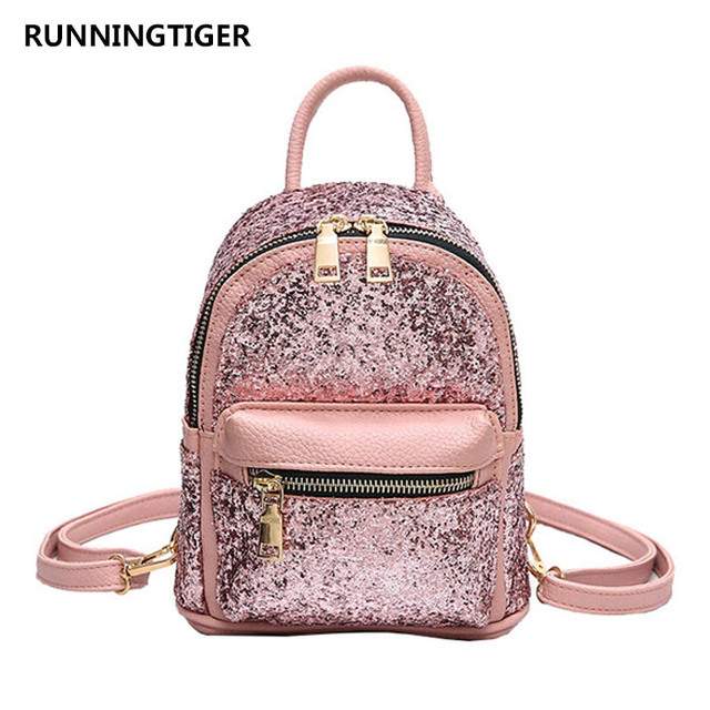 77921e614730 US $17.23 35% OFF|2018 Mini Bag Women's Sequins PU Leather Backpack  Children Backpacks Small Fashion Backpack For Teenage Girls Female Sac A  Dos-in ...