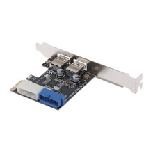 ใหม่ PCI Express USB 3.0 2 พอร์ตด้านหน้าแผงควบคุมการ์ด 4 Pin & 20 Pin Feb6