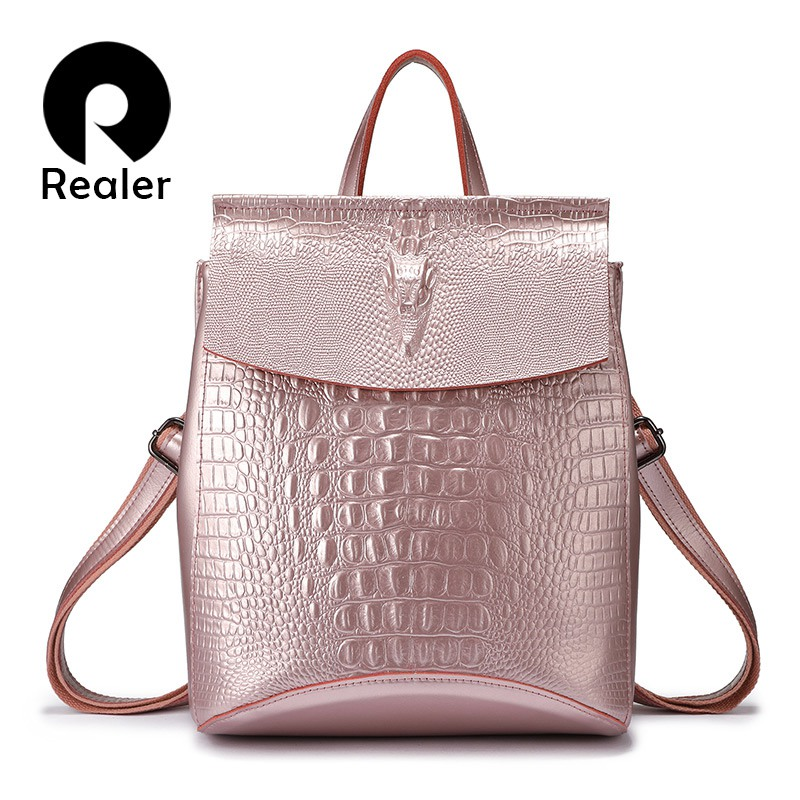 REALER backpack women split leather school bags for teenage girls travel backpack ladies shoulder bag crocodile