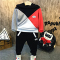 Children's clothes fall 2016 new boy color matching sets hooded fleece + cargo pants suit, free shipping