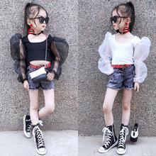 Летняя футболка для девочек детский укороченный топ, Детская короткая футболка, Детская уличная одежда модная сетчатая одежда с длинными рукавами и нашивками, для детей возрастом от 2 до 12 лет