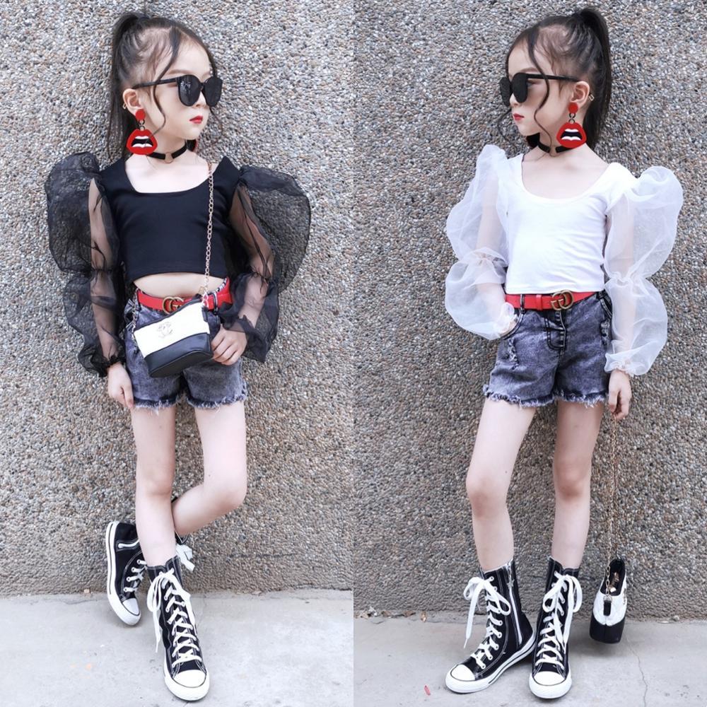 Summer Girls T Shirt Baby Crop Top Kids Short Tee Children Streetwear Clothes Fashion Mesh Patch Puff Long Sleeve 2 To 12 Yrs