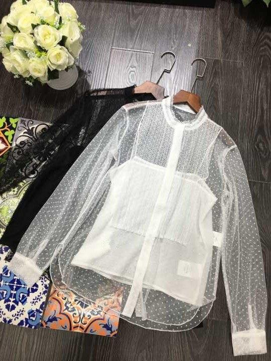 Chemises dentelle haute qualité femme 2019 printemps eté blanc/noir chemises & Blouses transparentes A413
