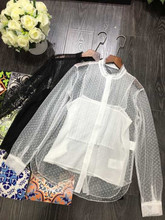 Womens High quality lace Shirts 2019 spring summer White/black see-through & Blouses A413
