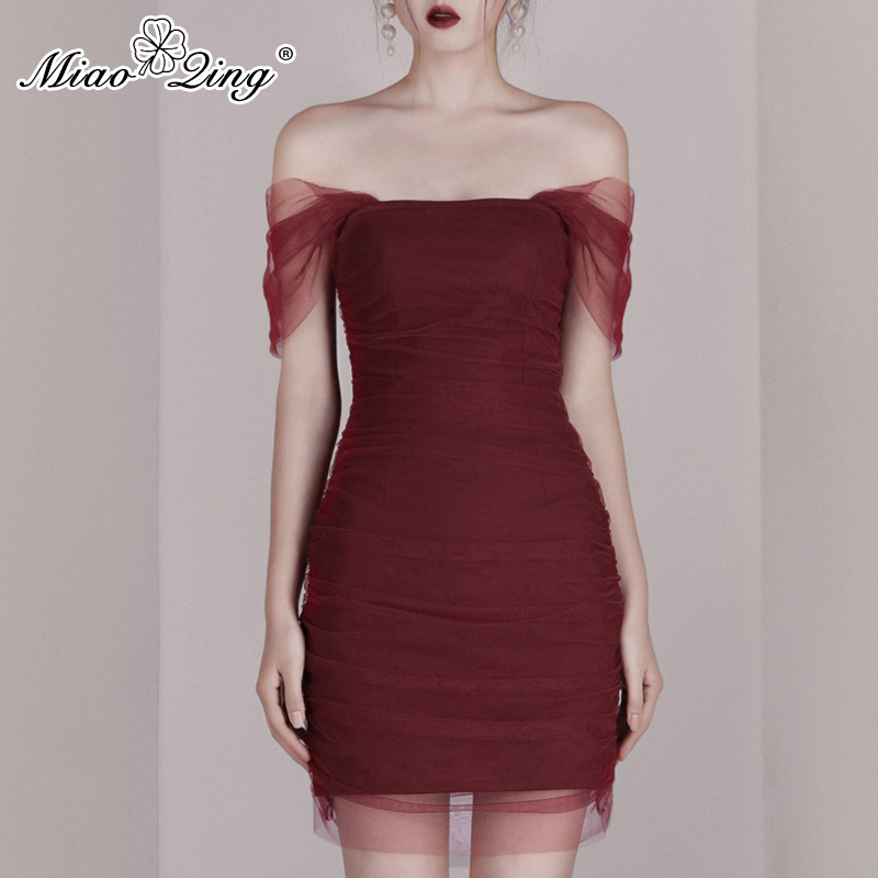 MIAOQING bretelles sexy femmes robe mini twill dentelle rouge vin rouge à manches courtes skinny club fête Vestidos 2019