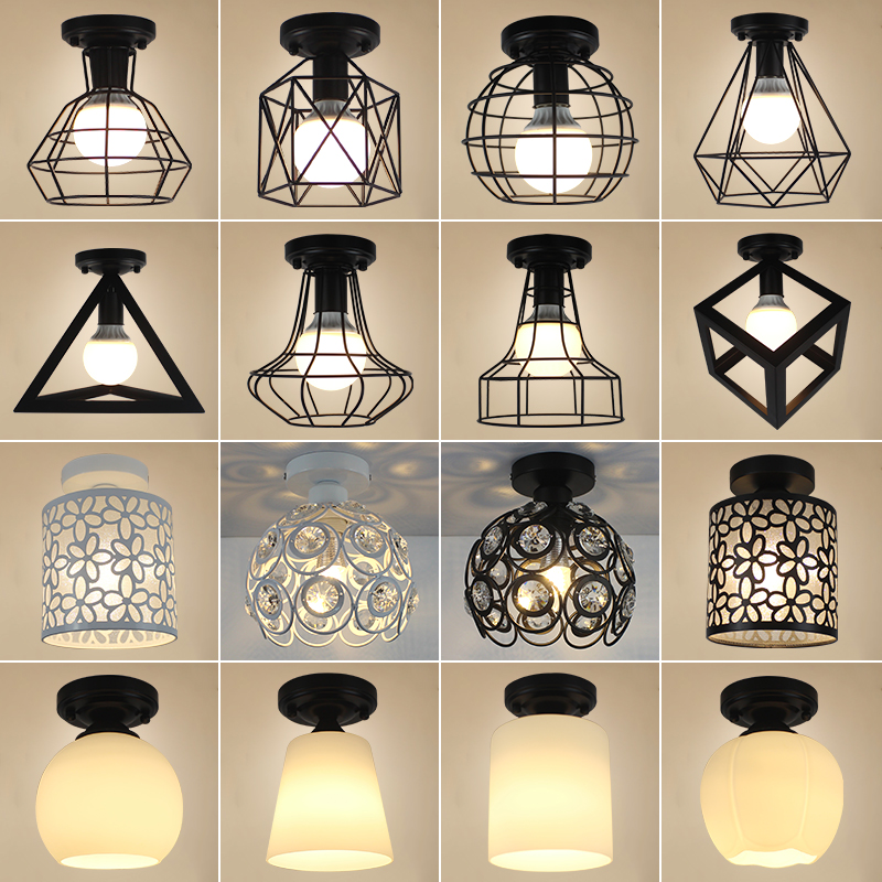 24 Kinds Vintage ceiling lamp Retro Iron Cage Warehouse LED ceiling chandeliers light bedroom fixture Industrial home lamp