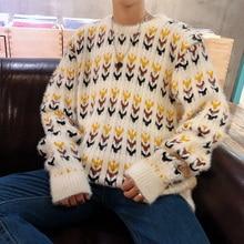 Mens Sweater 2018 Autumn Winter New Pattern Korean Harajuku Popular O-Neck Pullover Male Sweater Loose White Orange Sweater