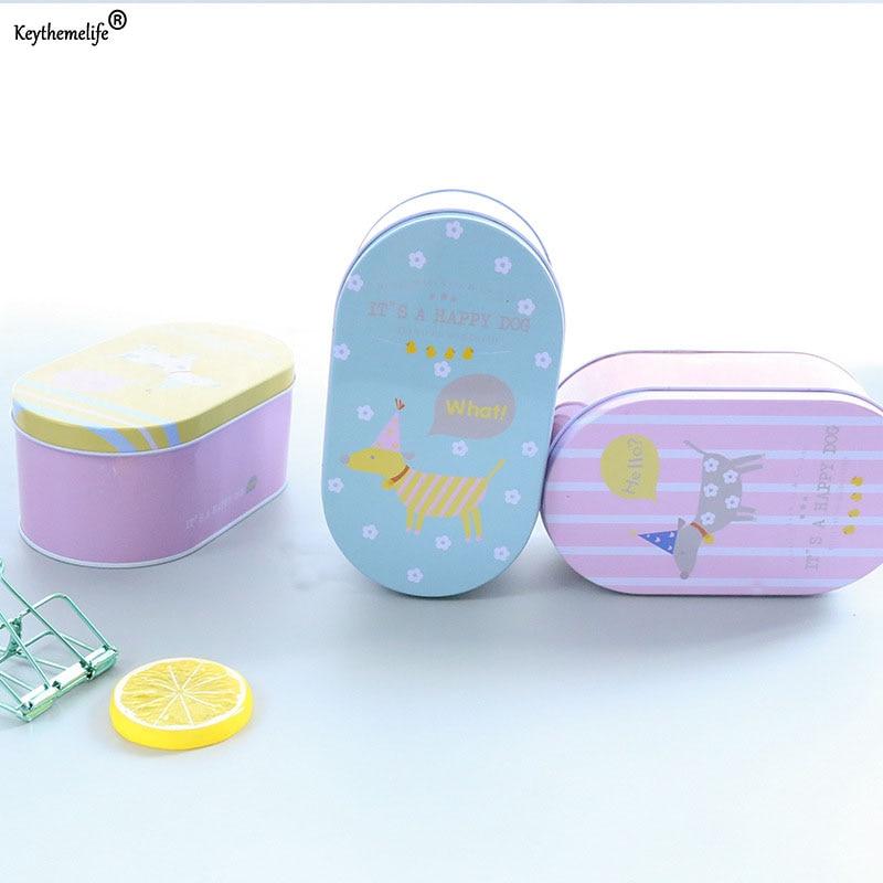 Oval Cartoon Iron Box Stationery Storage Box Wedding Jewelry Pill Cases Portable Tin Boxes Container Debris Storage 2C