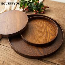 Round Natural Wood Serving Tray Wooden Plate Tea Food Server Dishes Water Drink Platter Food Bamboo Rectangular Container