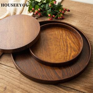 Round Natural Wood Serving Tray Wooden Plate Tea Food Server Dishes Water Drink Platter Food Bamboo Rectangular Container(China)