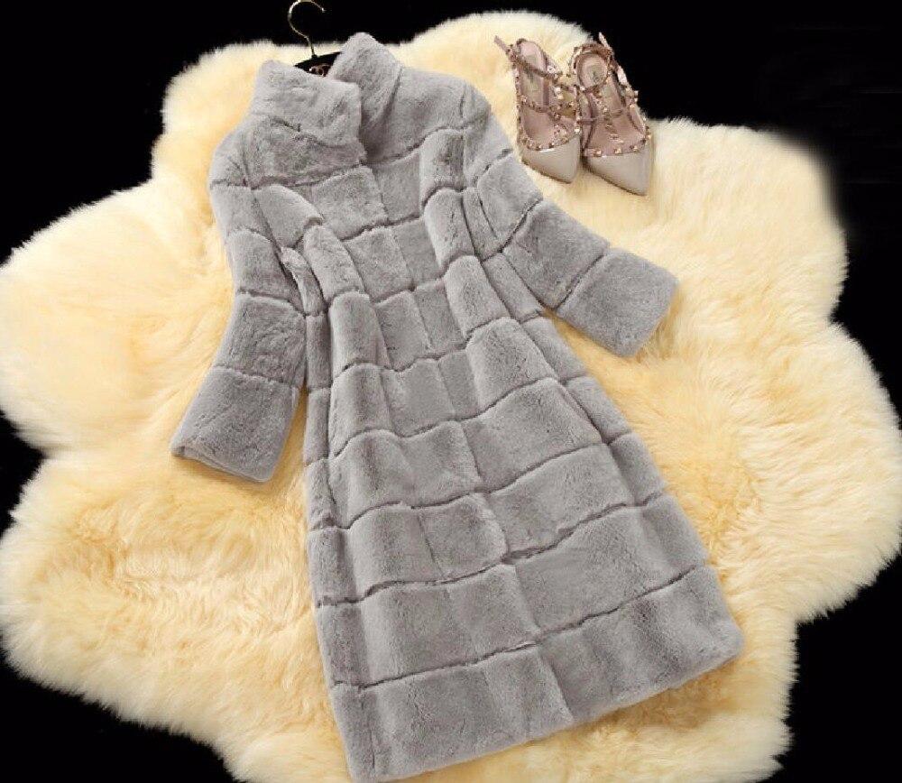 Большие размеры 2017 натуральным кролика Рекс волосы пальто с мехом 11 цветов женские Длинный дизайн Зимняя теплая верхняя одежда; пальто