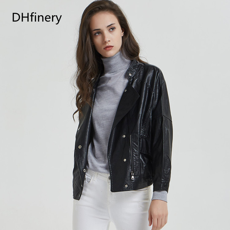 DHfinery   Leather   Jacket Women 2019 spring and autumn short section slim motorcycle jacket P-1899