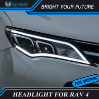 Car LED Strip Front Lamps for TOYOTA RAV4 LED Headlight 2013 2015 Angel Eye Bi Xenon Projector Lens Double Beam