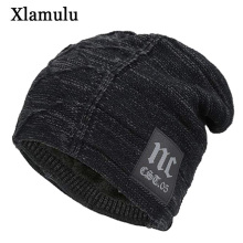 Xlamulu Skullies Beanies Winter Hats For Men Scarf Knitted H