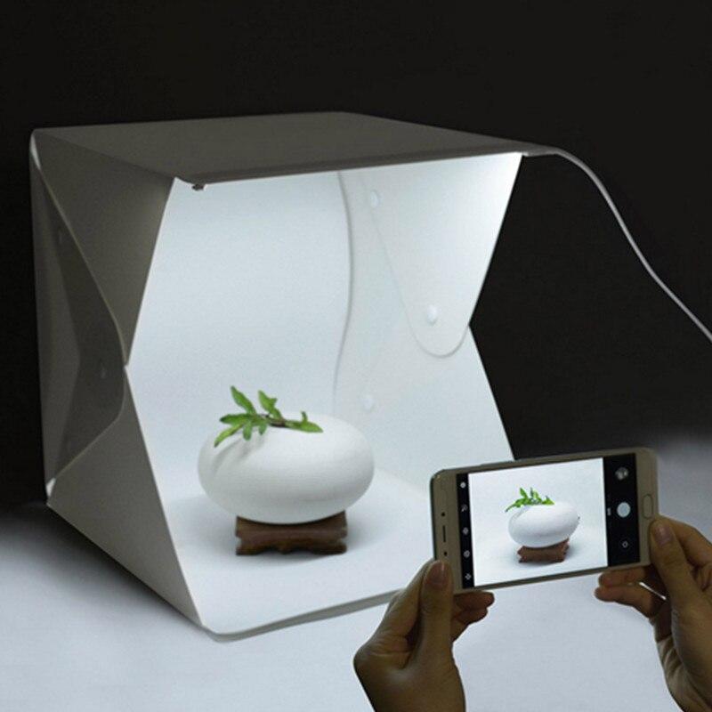 40*40 cm Portable pliant Studio Diffuse boîte souple avec lumière LED photographie fond Photo Studio boîte éclairage Kit de tente